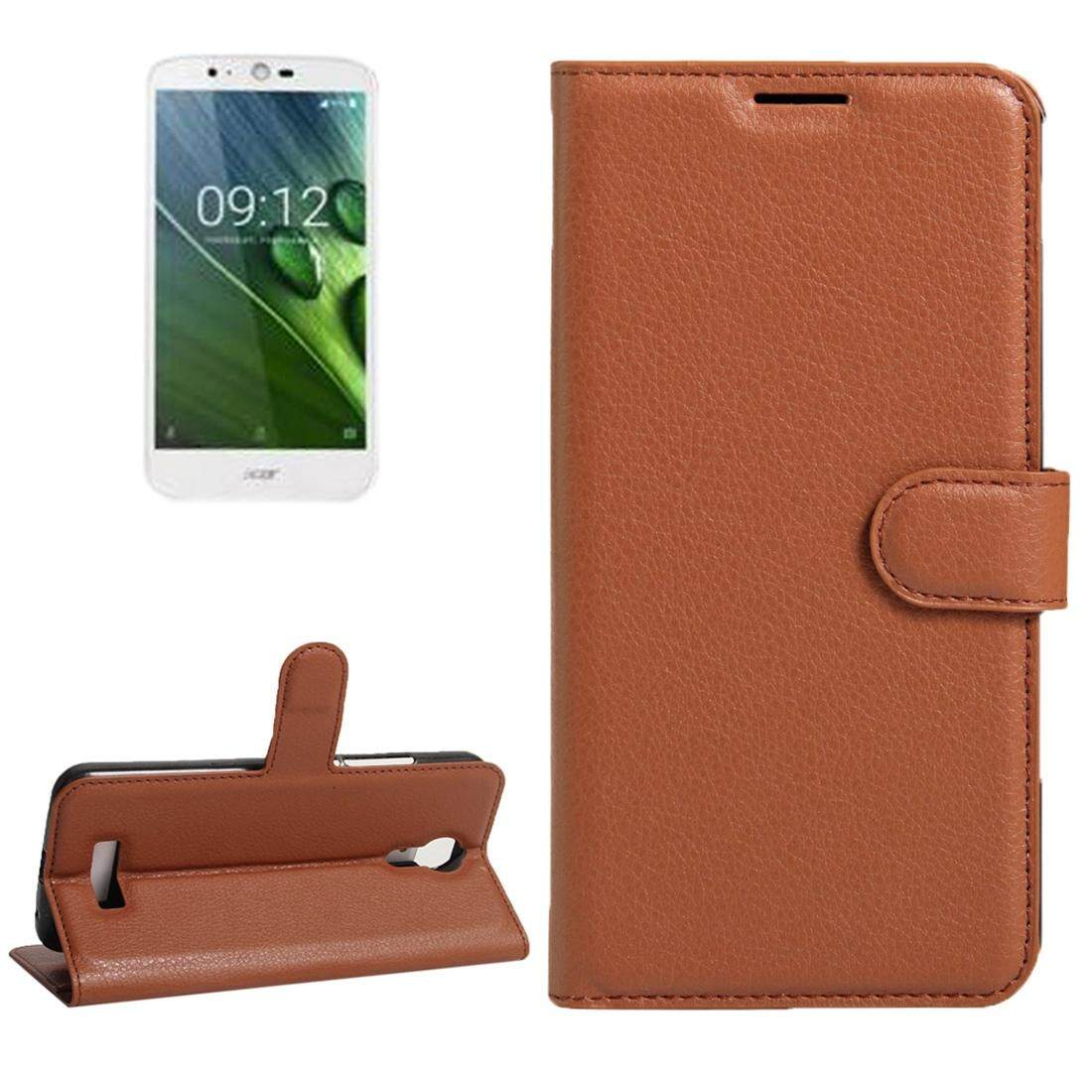 For Acer Liquid Zest Plus / Z628 Litchi Texture Horizontal Flip Leather Case with Magnetic Buckle & Holder & Card Slots & Wallet(Brown) - intl