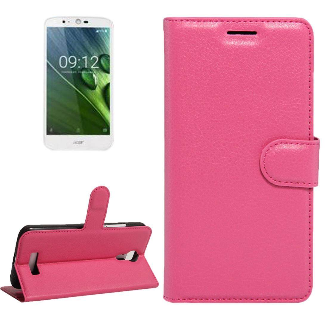 For Acer Liquid Zest Plus / Z628 Litchi Texture Horizontal Flip Leather Case with Magnetic Buckle & Holder & Card Slots & Wallet(Magenta) - intl