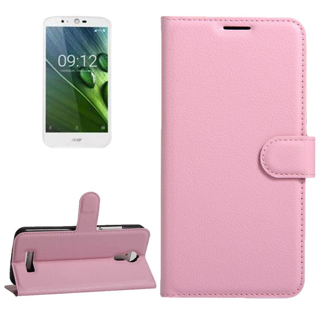 For Acer Liquid Zest Plus / Z628 Litchi Texture Horizontal Flip Leather Case with Magnetic Buckle & Holder & Card Slots & Wallet(Pink) - intl