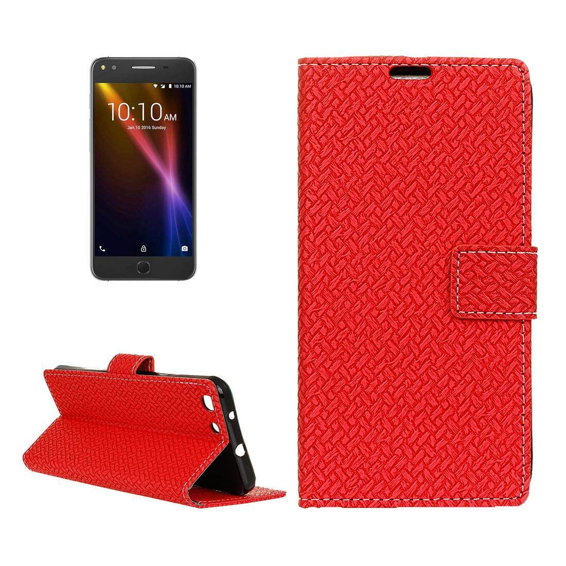 For Alcatel Onetouch X1 7053D Weaving Texture Horizontal Flip PU Leather Case with Magnetic Buckle & Holder & Card Slots & Wallet & Photo Frame(Red) - intl