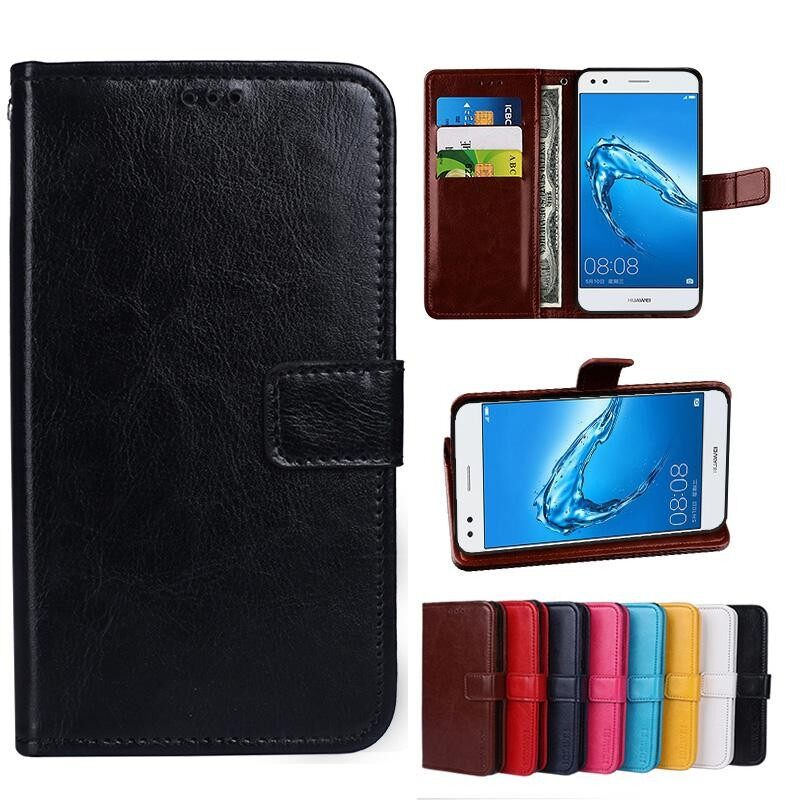 For Doogee Y6 Max Wallet Stand Vintage Crazy Horse PU Leather Case Flip Folio Magnetic Closure Book Cover with 3 Credit Card Holders - intl
