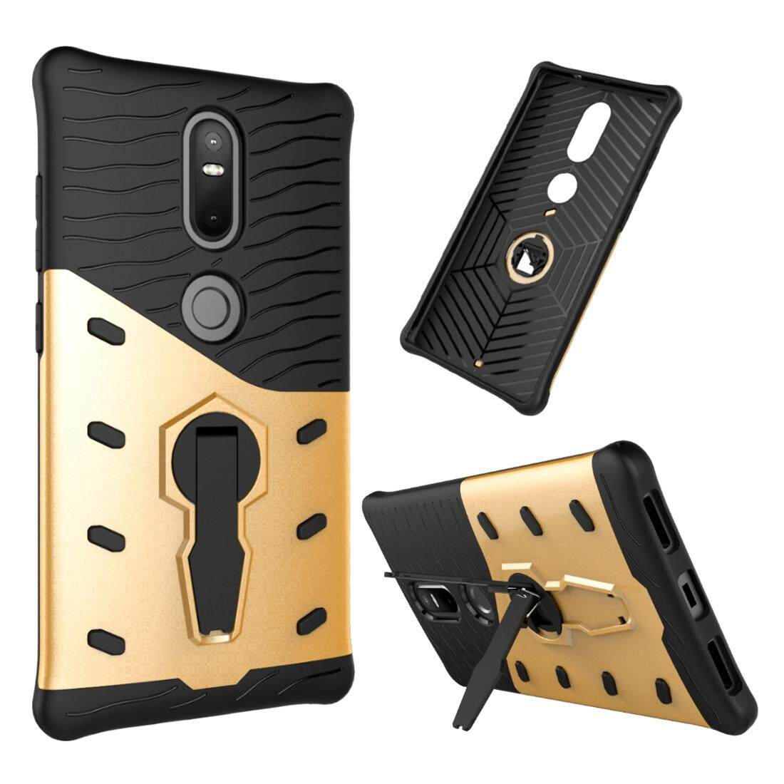 For Lenovo Phab2 Plus Shock-Resistant 360 Degree Spin Sniper Hybrid Case TPU + PC Combination Case with Holder(Gold) - intl