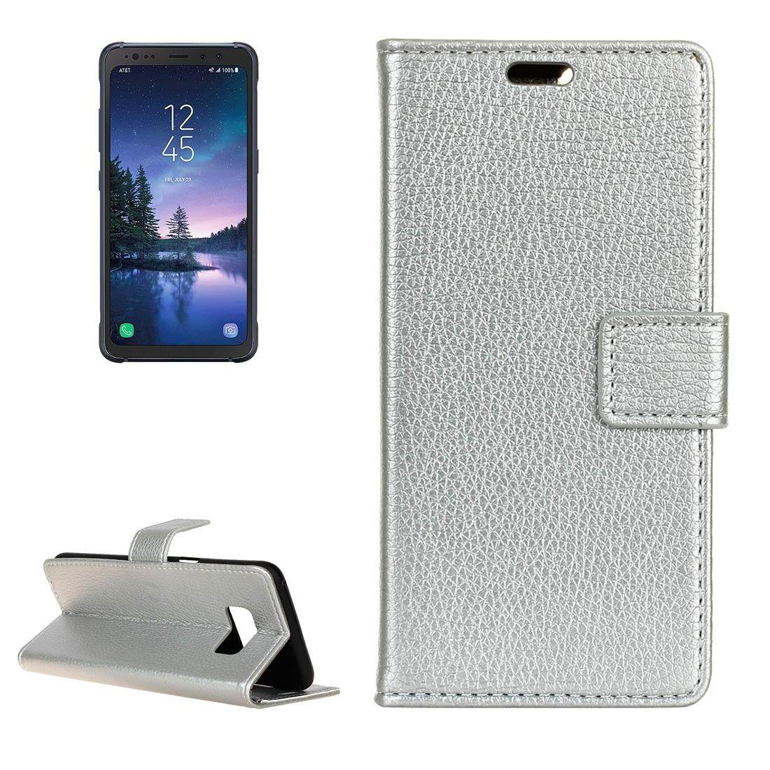 For Samsung Galaxy S8 Active Litchi Texture Horizontal Flip Leather Case with Holder and Card Slots and Wallet and Photo Frame (Silver) - intl