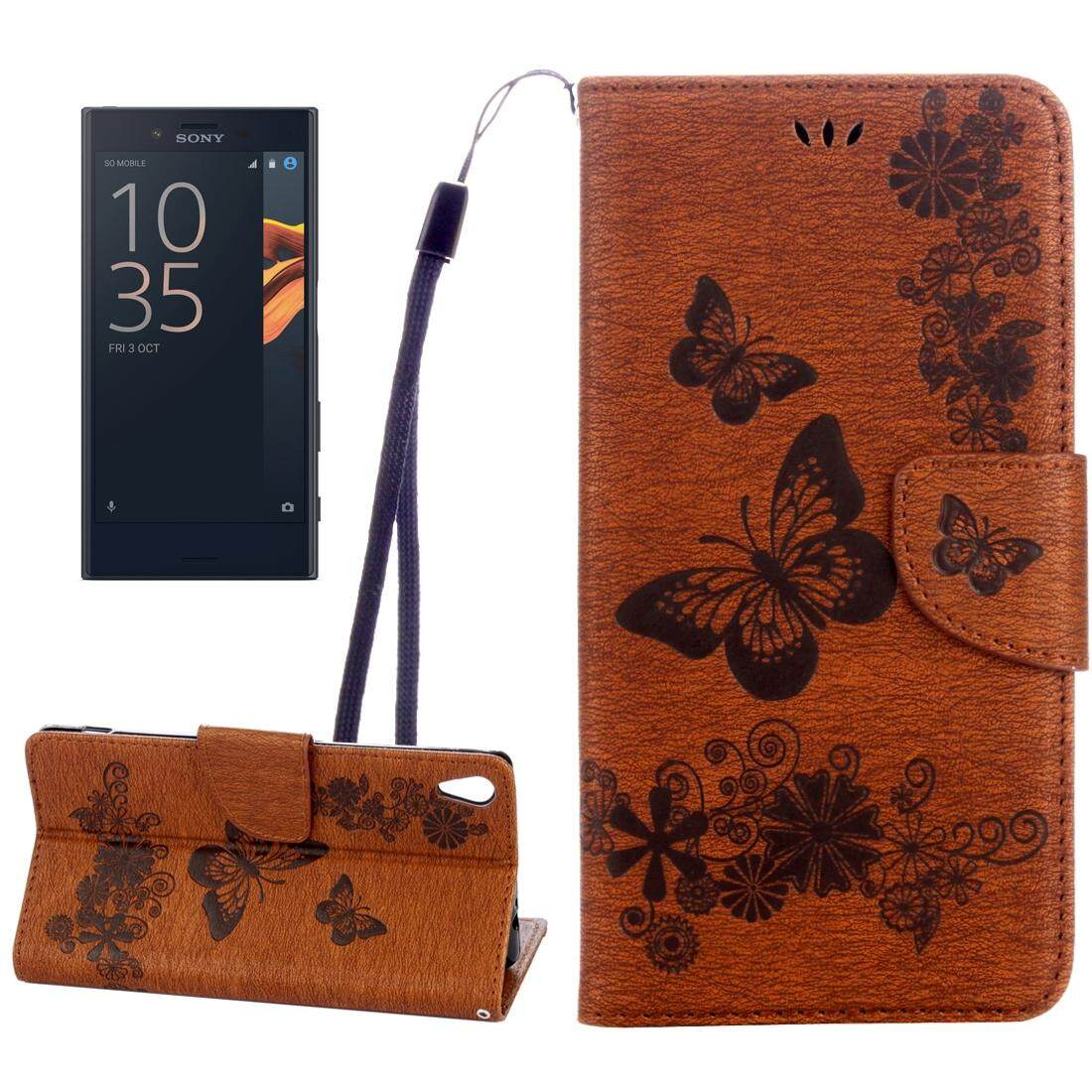 For Sony Xperia XA Ultra Butterflies Embossing Horizontal Flip Leather Case with Holder & Card Slots & Wallet & Lanyard(Brown) - intl