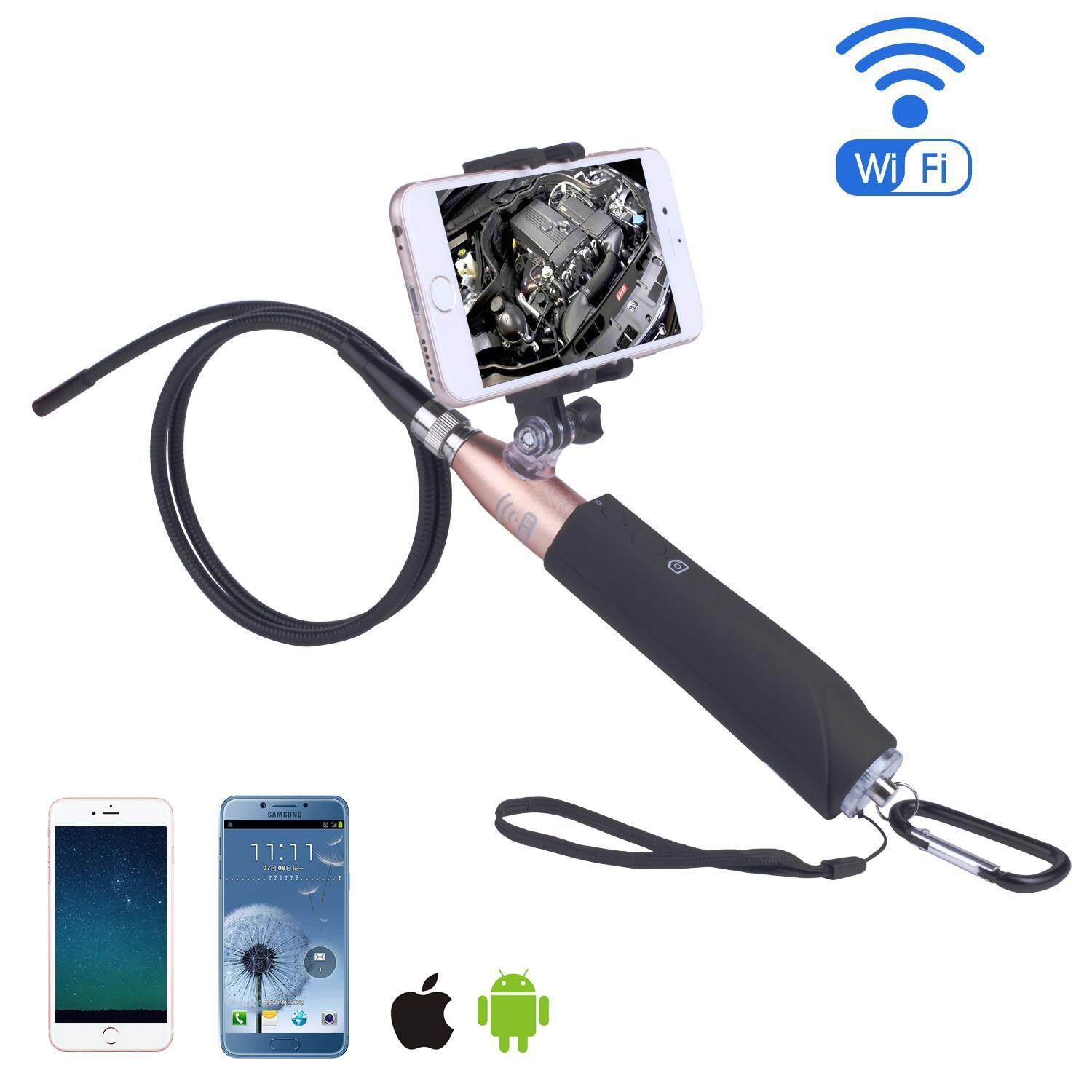 Fuskm Nirkabel Endoskopi-iPhone Android WIFI Borescope Video Inspection Kamera. 2 Juta Piksel HD Ular Kamera Anti-Air USB HD 720 P 6 LED Endoskopi Industri untuk Android/Jendela/IOS (1 M) -Internasional