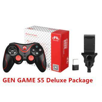 Gen Game S5 Deluxe Bluetooth Wireless Game Controller Gamepad Joystick Android/IOS with Holder and PC adapter (Black)