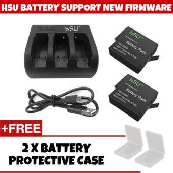 (GENUINE) SUPPORT NEW FIRMWARE V02.51 HSU GoPro Accessory 2 Pack 3.85 V GoPro Hero 5 Battery with 3 Slot Charger Kit