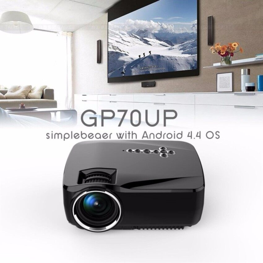 HD GP70UP Android 4.4 Mini LED Projector with Google Play Updatedby GP70 1G/8G Bluetooth WiFi TV Beamer (Black) - intl