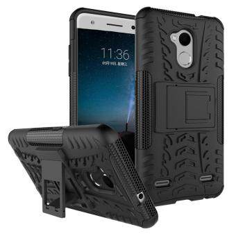 Heavy Duty Armor Case For ZTE Blade V7 Lite Dual Layer ShockproofKickstand Protective Cover Black