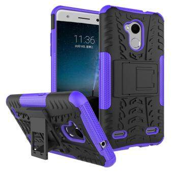 Heavy Duty Armor Case For ZTE Blade V7 Lite Dual Layer ShockproofKickstand Protective Cover Purple