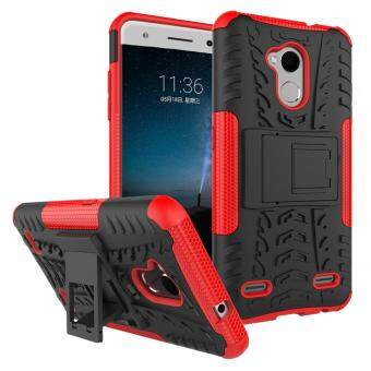 Heavy Duty Armor Case For ZTE Blade V7 Lite Dual Layer ShockproofKickstand Protective Cover Red