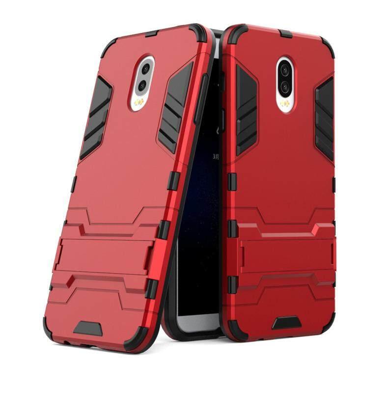 Tugas Berat Dual Layer DROP Protection Shockproof Armor Hybrid Steel Style Protective Cover Case dengan Stand Mandiri untuk Samsung Galaxy J7 Plus/C8-Intl