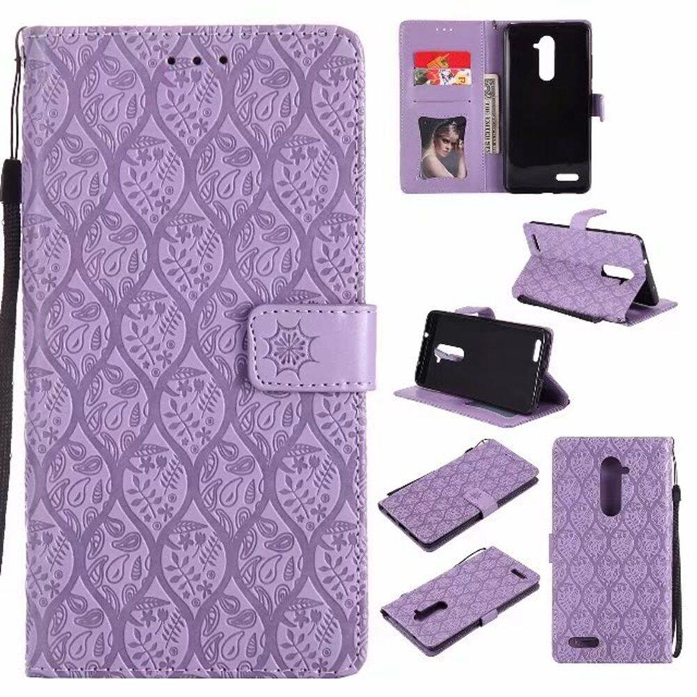 Hot High Quality Purple 3D Relief Flower Leather Flip Case For ZTE Zmax Pro Z981 - intl