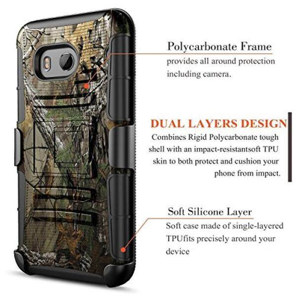 HTC U11 Life Case, Circlemalls Dual Layers [Combo Holster] And Built-In Kickstand Bundled With [Premium Screen Protector] Hybird Shockproof And Touch Screen Pen (Camo) - intl