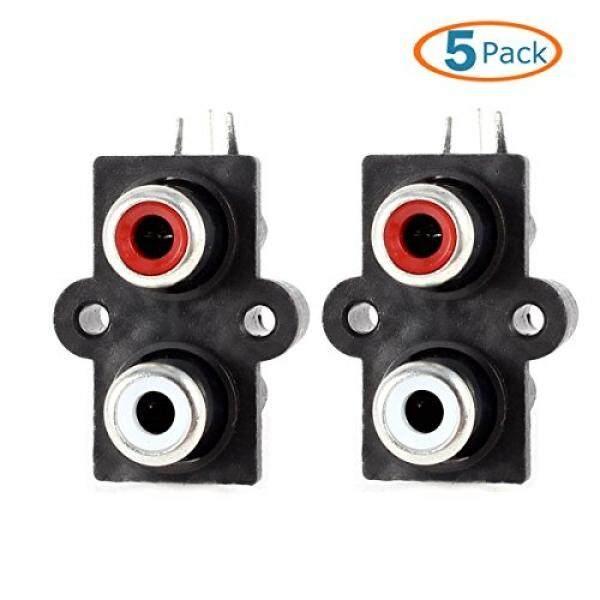 HTTX 5-Pack PCB MOUNT AV Concentric Outlet 2 RCA Female Jack Video AV Soket Konektor Sudut Kanan- INTL