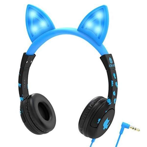IClever Kids Headphone Over Ear, Cat-Telinga Terinspirasi, Wired Headset 85dB Volume Terbatas, Food Grade Silicone, LED Senter, 3.5mm AUX Kabel, untuk Anak-anak, LED-Biru-Intl