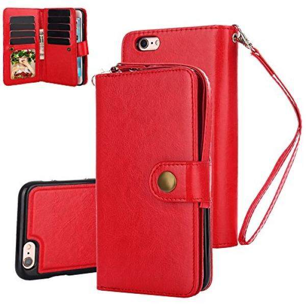 Iphone 6 S Plus Case, Iphone 6 Plus Case, tabpow 10 Slot Kartu-[Slot Identitas] [Tombol] Dompet Folio PU Kulit Case dengan Dapat Dilepas magnetik Keras Case untuk iPhone 6 S/6 Plus (5.5 Inch), merah-Internasional
