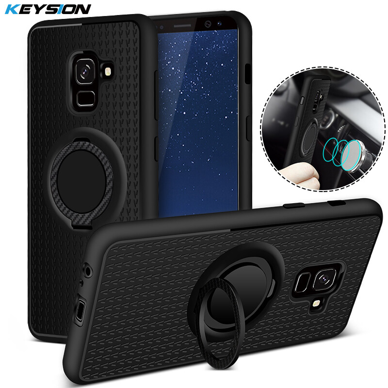 KEYSION Case for Samsung Galaxy A8 Plus (2018) Car Magnetic Suction Bracket Finger Ring Soft TPU Back Cover for A8+ 2018 A730F - intl