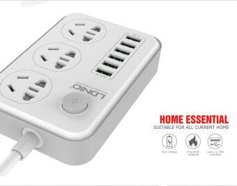 LDNIO SC3603 Anti-static power Socket With 3 Power Socket 6-PortUSB US Plug Home Charger 1.6m length 5v/3.4A