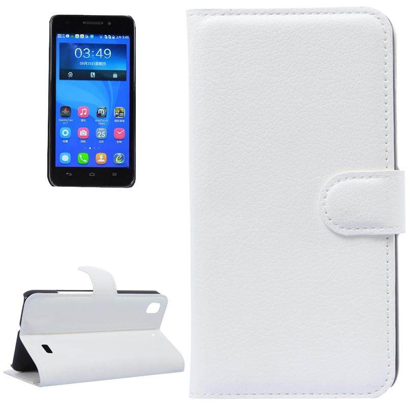 Litchi Texture Leather Case with Holder & Card Slots & Wallet for Huawei Honor 4 Play / Ascend G620s(White) - intl