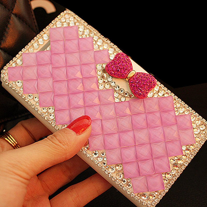 Mewah Handmade Rhinestone Diamond Leather Wallet Cover Case untuk Acer Liquid Z520-Intl
