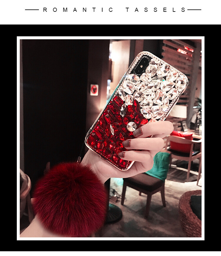 Luxury Bling Mix Colors Crystal Diamond Case Cover With Fox Fur Ball Pendant ForHuawei Y540 - intl