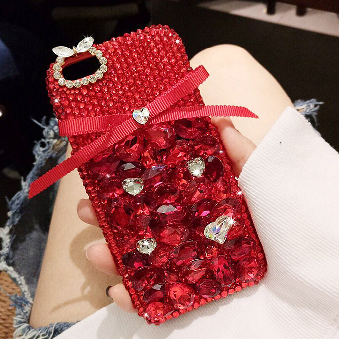 Luxury Fashion Handmade DIY Sweet Cute Bowknot Bling Crystal Diamond Case Cover For Huawei Y540 - intl