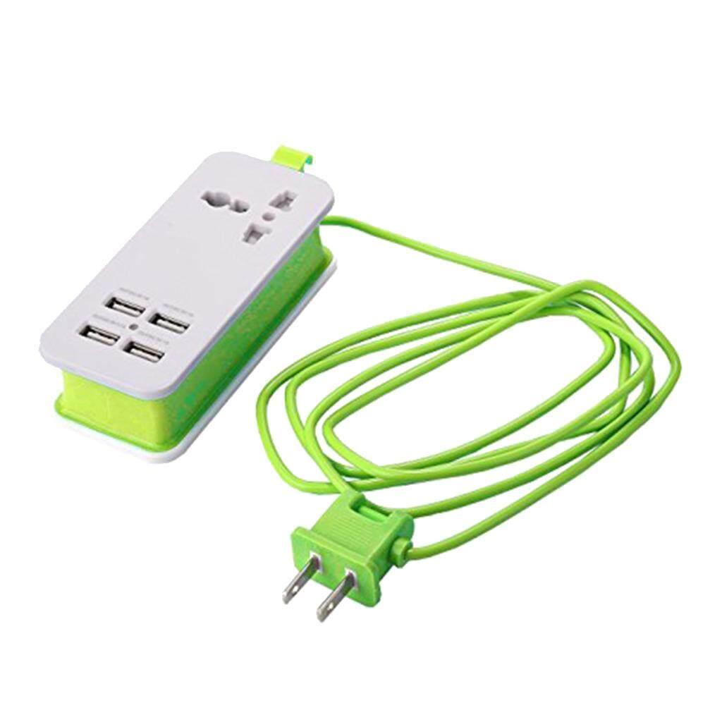 MagiDeal Mini USB Power Strip 4Port USB Charger Station Travel Charging US Plug Green - intl