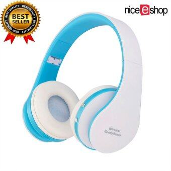 niceEshop Wireless Bluetooth Foldable Headset Stereo Headphone Earphone (Blue White)