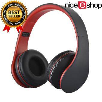 niceEshop Wireless Bluetooth Stereo Headphone Foldable EDR Earphone Mic MP3 FM Headset For Smart Phones Tablet(Black+ Red)
