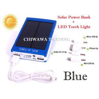 ORIGINAL Waterproof, Shockproof and Dustproof ES20000 Solar Power Bank 20000 mAH Portable Dual USB Solar Battery Charger LED Light (Blue)