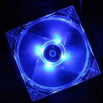 Phoenix B2C 12V 12cm CPU Cooling Fan Computer PC Clear Case Quad 4Blue LED Light Fan