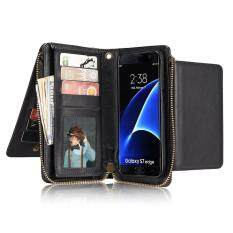 Premium Zipper Wallet Leather Detachable Manetic Case Purse Cluth with Credit Card Holder Cover for Samsung Galaxy S7edge Case - intl