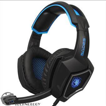 SADES Spirit Wolf 3.5mm Wired Gaming Headset with Microphone,Deep Bass Over-the-Ear Noise Isolating, Volume Control, LED Lights (BlackBlue)