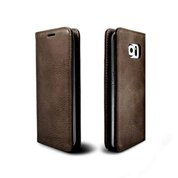 Samsung GALAXY S6 Edge Plus Leather Case, ETSHAIM Premium Asli Vintage Kulit Sapi Dompet Case, LIBERTA untuk Samsung Galaxy S6 Edge Plus/Vintage Brown-Intl