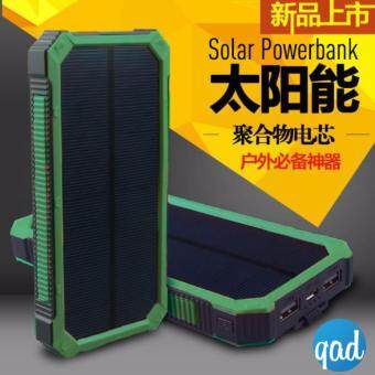 Solar Power Bank Portable Dual USB 20000 mAH Battery Charger LED Light Panel Powerbank - Bateri bank chargeable (Green)