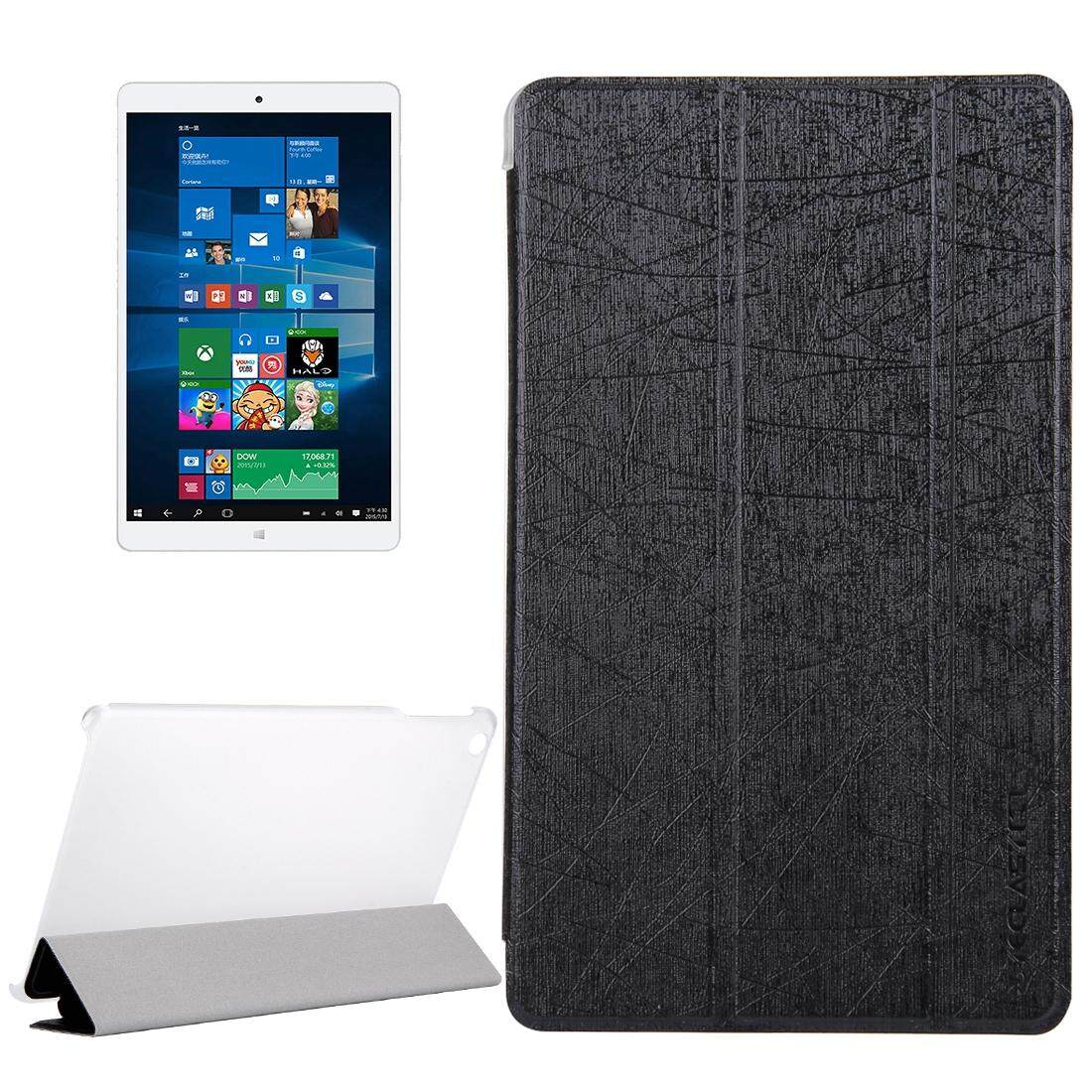 Teclast X80 Power Dual OS Tablet(WMC0011) Silk Texture Horizontal Flip Leather Case with with Translucent Frosted Plastic Back Shell & Three-folding Holder(Black) - intl
