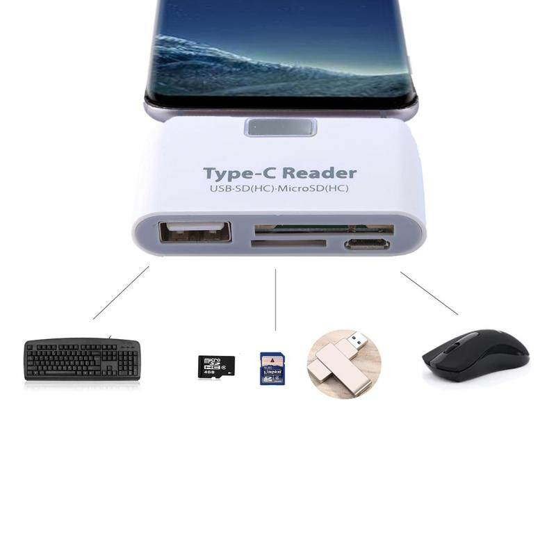 Bảng giá TF + SD Card + USB Port to USB-C / Type-C Adapter Card Reader Connection Kit with LED Indicator Light(White) - intl Phong Vũ