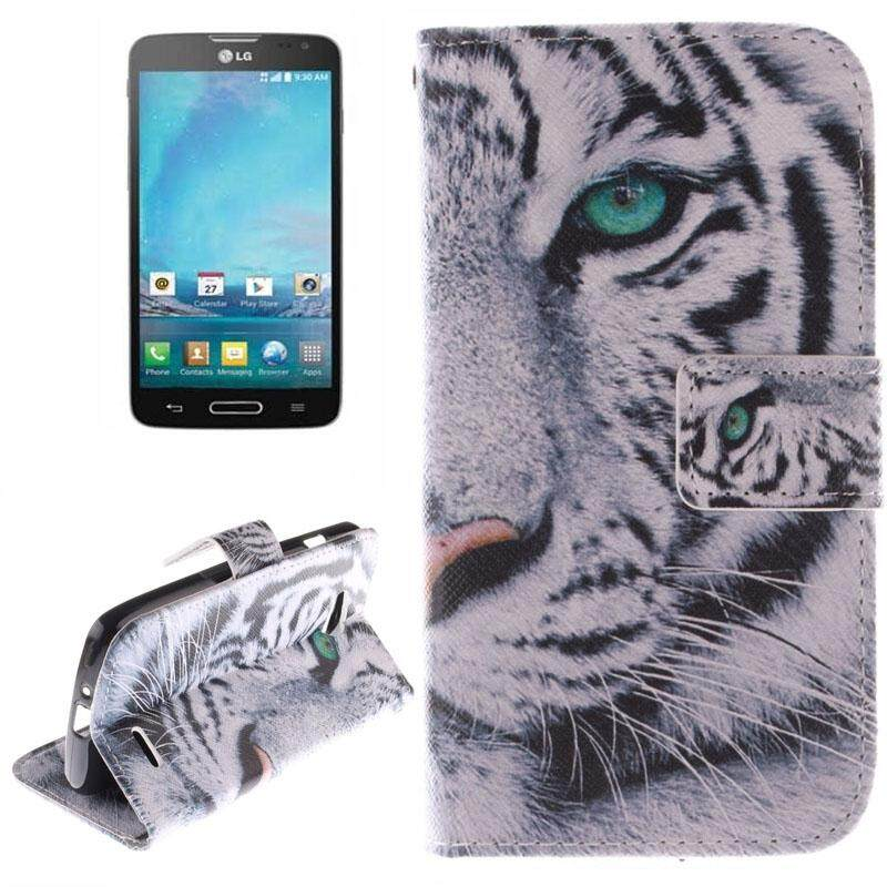 Tiger Pattern Leather Case with Holder & Card Slot & Wallet for LG L90 / D405