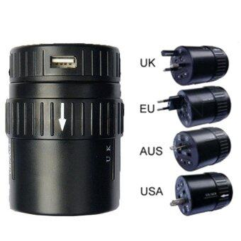 Universal Travel Adapter with Single USB Port (Round)