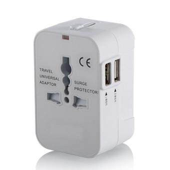Universal World Travel Charger Dual USB Ports US To UK EU AU All InOne Worldwide Travel Power Adapter Safety Fuse Protection AdaptorInternational AC Wall Charger (White )