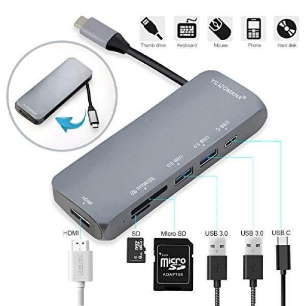 Usb Jenis C Hub 6-Dalam-1 Usb C untuk 4 K HDMI, 2 X USB 3.0 5 Gbps, SD & TF Kartu Pembaca dengan Daya C-c Daya untuk MacBook Baru 12