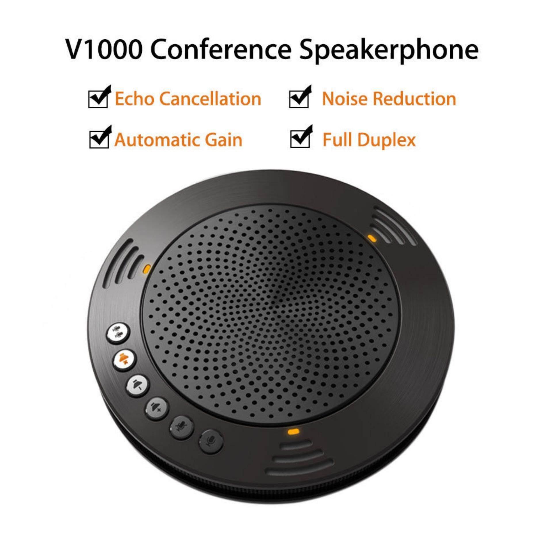 V1000 Black Portable Conference Speakerphone USB Port for Teaching Meeting Office