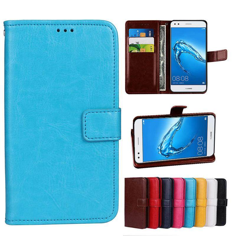 Wallet Stand Vintage Crazy Horse PU Leather Case Flip Folio Magnetic Closure Book Cover with 3 Credit Card Holders for Doogee X9 Pro - intl
