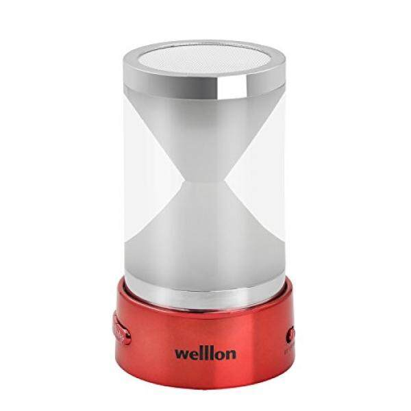 Welllon Portable Wireless Hourglass Bluetooth Speaker with LED Lights & Remote Control, Built-in FM Radio, TF Card & USB - Red - intl