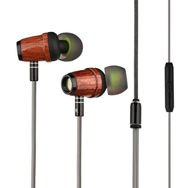 Wood Earphones, Zermie Wood In-ear Headphones with Microphones Noise canceling Heavy Bass Wired Earbuds for iPhone iPad Samsung Android Cell Phones Tablets Laptop - intl