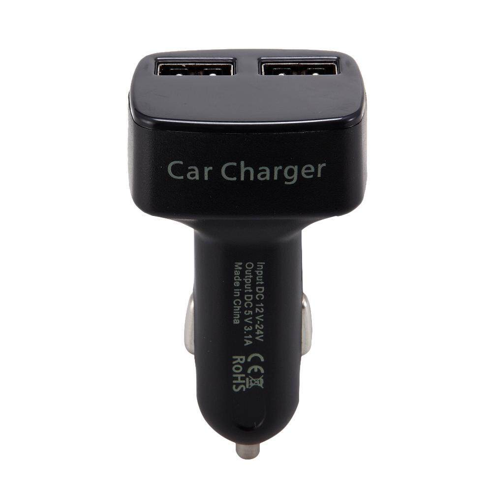 yukufus 4 In 1 Dual USB Car Charger Adapter with LCD Screen Display Voltmeter Ammeter Thermometer for IPhone 7 6s Plus,Samsung Galaxy S8 S7 S6 Edge Note 7 5,Nexus,LG,HTC,iPad Pro Mini - intl