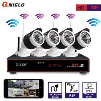 Z-BEN 4 Channel 720P Wireless WIFI Security camera System with IRNight Vision