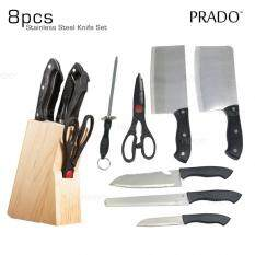 Hl Knife 03 7pc Stainless Steel Kitchen Set Knifes Wooden Holder