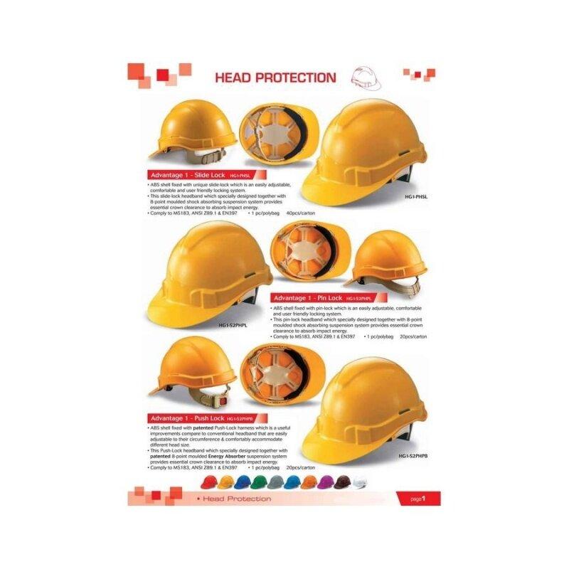 1 pcs White Proguard Advantage 1 Industrial Safety Helmet Sirim Certified